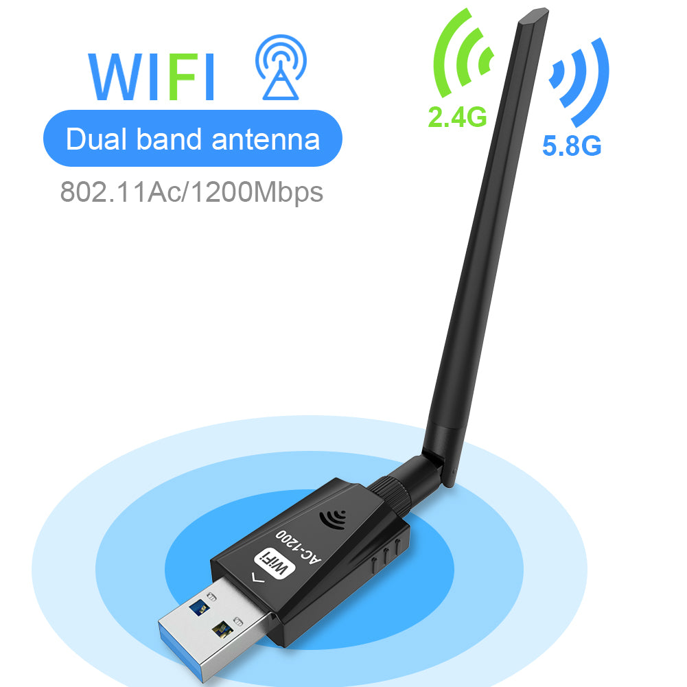 USB Wifi Adapter 1200Mbps Techkey Wireless Network Adapter USB 3.0 Wifi Dongle 802.11 ac with Dual Band 2.42GHz/300Mbps/5.8GHz/866Mbps 5dBi High Gain Antenna for Desktop Laptop Windows XP/7-10/ Mac OS