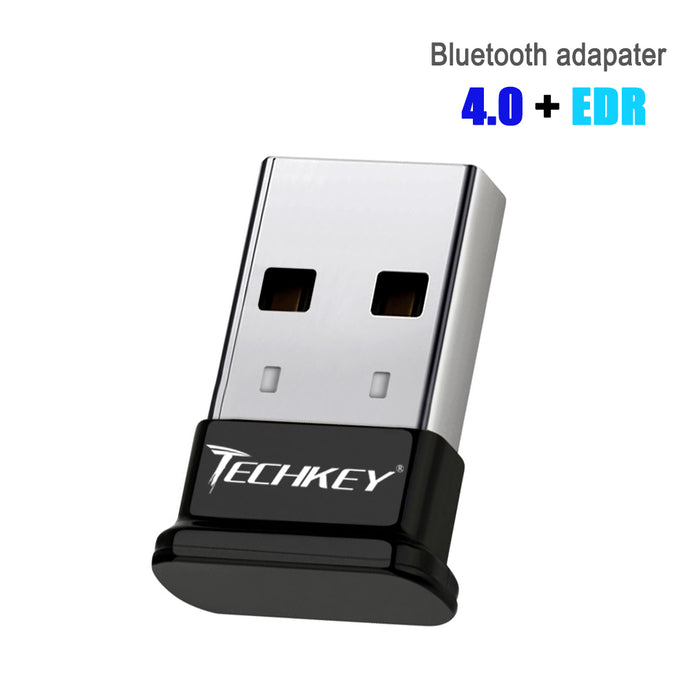 Bluetooth Adapter for PC USB Bluetooth Dongle 4.0 EDR Receiver TECHKEY Wireless Transfer for Stereo Headphones Laptop Windows 10, 8.1, 8, 7, Raspberry Pi, Linux Compatible