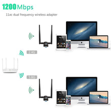 Load image into Gallery viewer, Techkey Wireless USB WiFi Adapter, 1200Mbps Dual Band 2.42GHz/300Mbps 5.8GHz/867Mbps High Gain Dual 5dBi Antennas Network WiFi USB 3.0 for Desktop Laptop with Windows 10/8/7/XP, Mac OS X