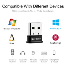 Load image into Gallery viewer, Bluetooth Adapter for PC USB Bluetooth Dongle 4.0 EDR Receiver TECHKEY Wireless Transfer for Stereo Headphones Laptop Windows 10, 8.1, 8, 7, Raspberry Pi, Linux Compatible