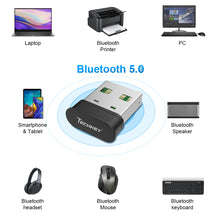 Load image into Gallery viewer, Bluetooth Adapter for PC,Techkey USB Mini Bluetooth 5.0 EDR Dongle for Computer Desktop Wireless Transfer for Laptop Bluetooth Headphones Headset Speakers Keyboard Mouse Printer Windows 10/8.1/8/7