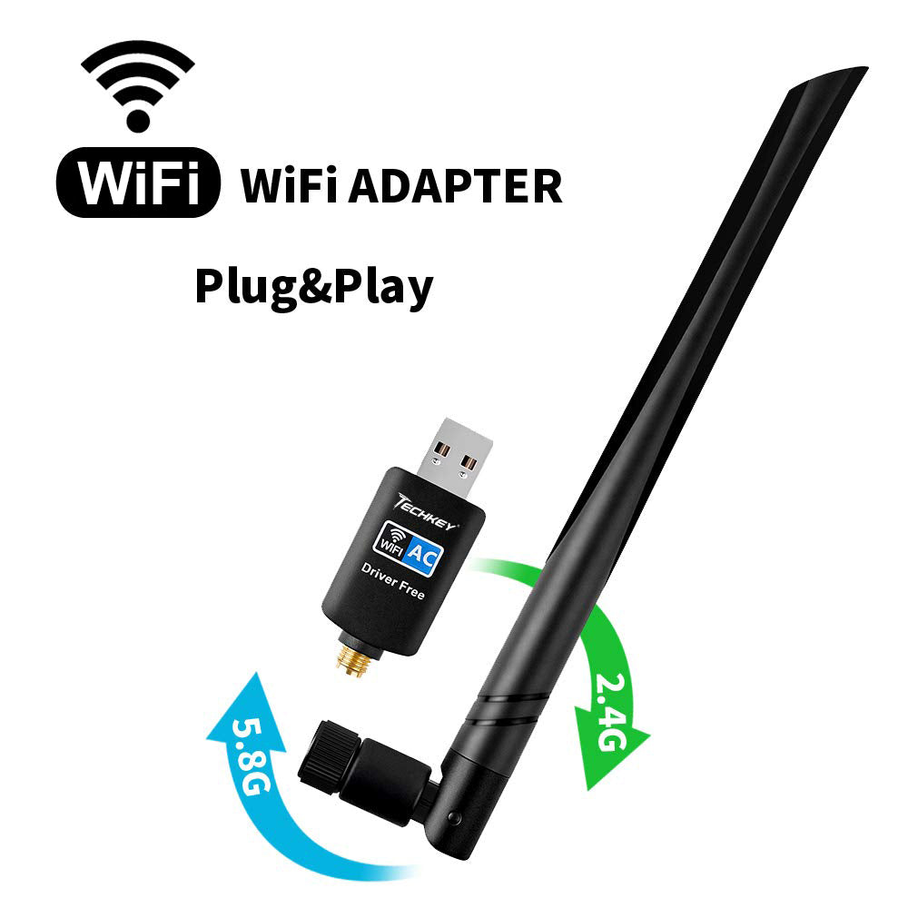 WiFi Adapter 600mbps,Techkey Wireless USB Adapter Dual Band 2.42GHz/5.8GHz LAN Card 802.11ac Network Card for Desktop Laptop PC Support Windows 10/8.1/8 / 7 / XP/Vista/Mac OS 10.6-10.14 Mojave