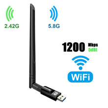 Load image into Gallery viewer, USB WiFi Adapter 1200Mbps TECHKEY USB 3.0 WiFi Dongle 802.11 ac Wireless Network Adapter with Dual Band 2.42GHz/300Mbps 5.8GHz/866Mbps 5dBi High Gain Antenna for Desktop Windows XP/Vista / 7-10 Mac