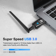 Load image into Gallery viewer, USB Wifi Adapter 1200Mbps Techkey Wireless Network Adapter USB 3.0 Wifi Dongle 802.11 ac with Dual Band 2.42GHz/300Mbps/5.8GHz/866Mbps 5dBi High Gain Antenna for Desktop Laptop Windows XP/7-10/ Mac OS