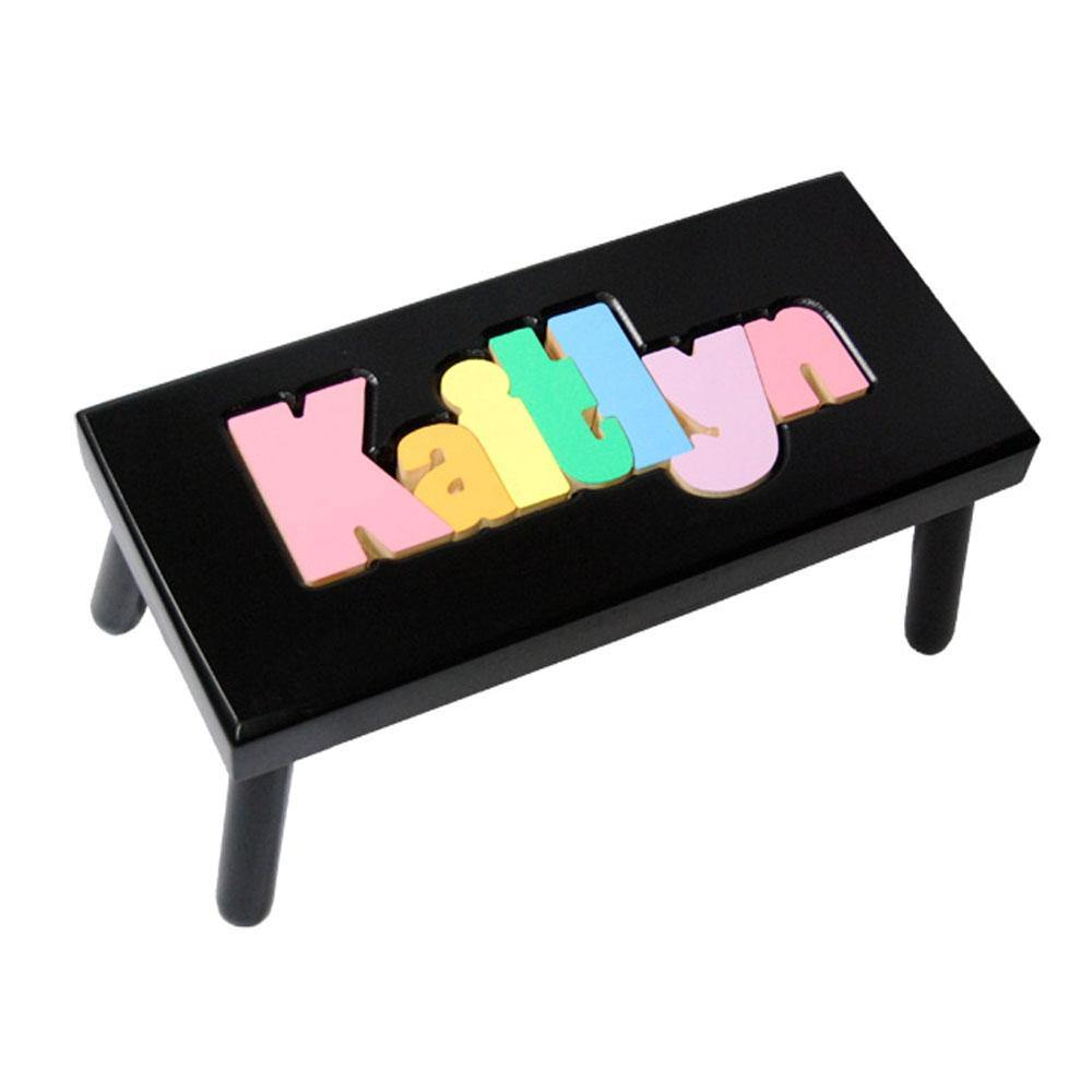 Personalized Large Painted Name Stool in Black or White