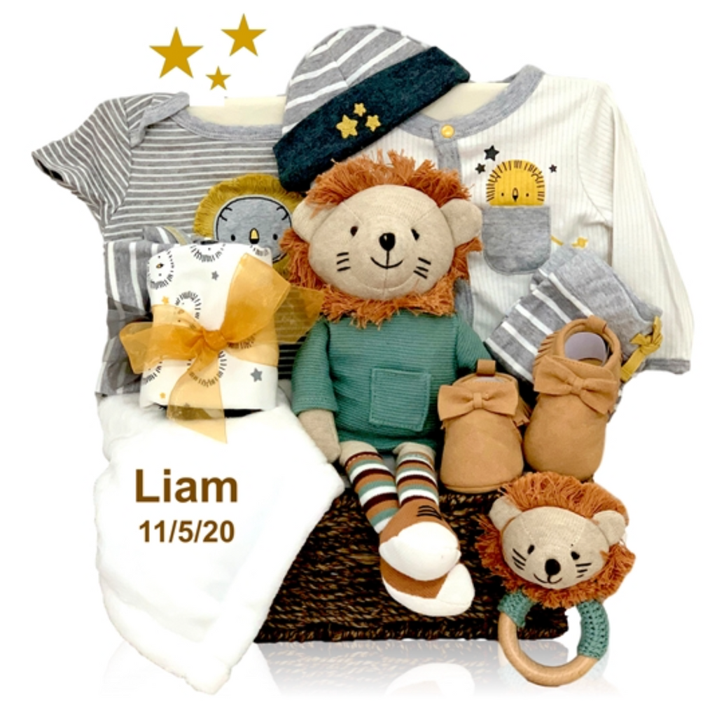 Basket of Organic Lion Themed Awesomeness - Simply Unique Baby Gifts