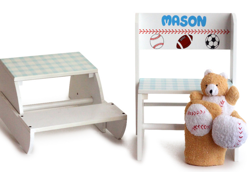 Deluxe Personalized Sports Step Stool Set for Boys