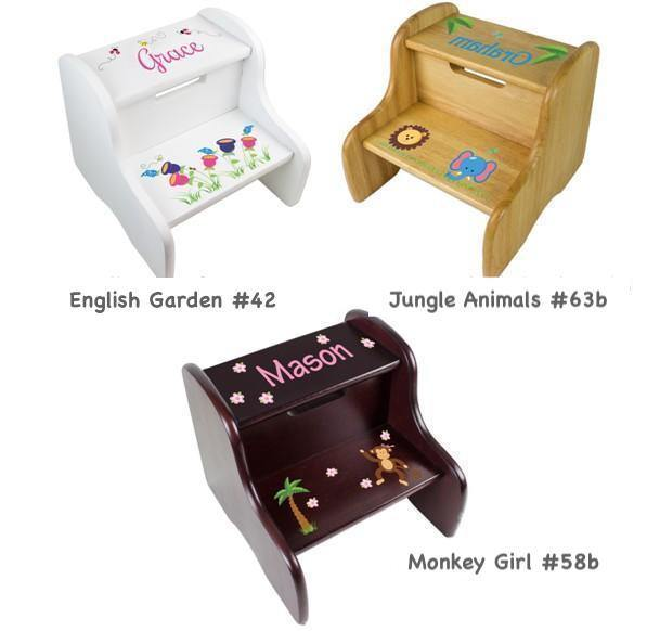 Personalized Imprinted Wooden Step Stools for Kids - Simply Unique Baby Gifts
