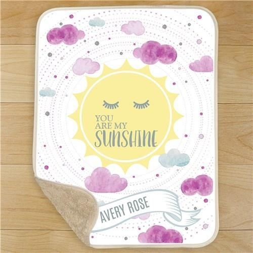 Girl's My Sunshine Personalized Blanket - Simply Unique Baby Gifts