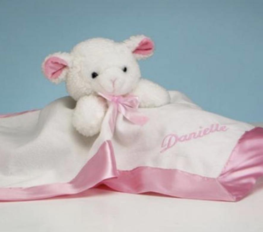 Personalized White & Pink Lamb Security Blanket