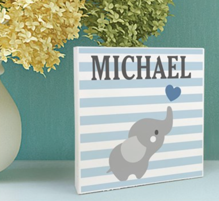 Table Top Name Plaque Choice of Pink or Blue