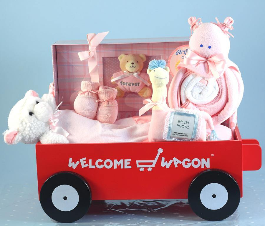 Baby Girl Security Blanket and Memory Book Wagon