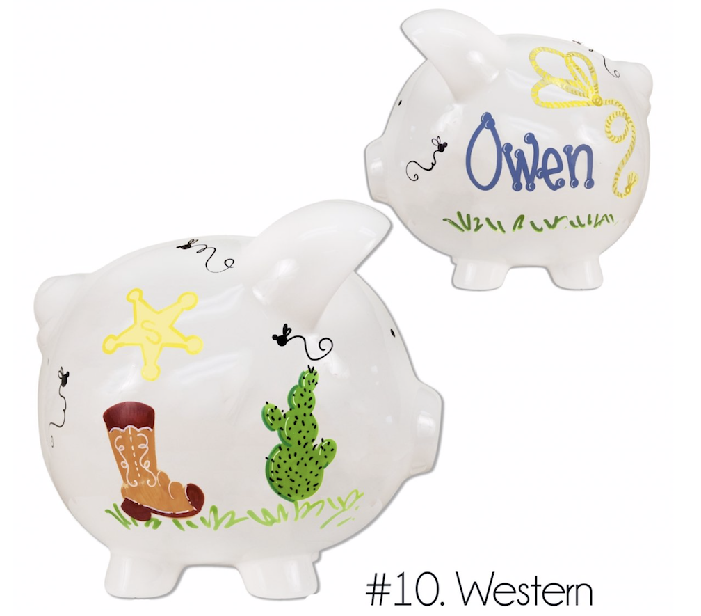Jumbo Hand Painted Piggy Bank in Boy, Girl & Neutral Designs