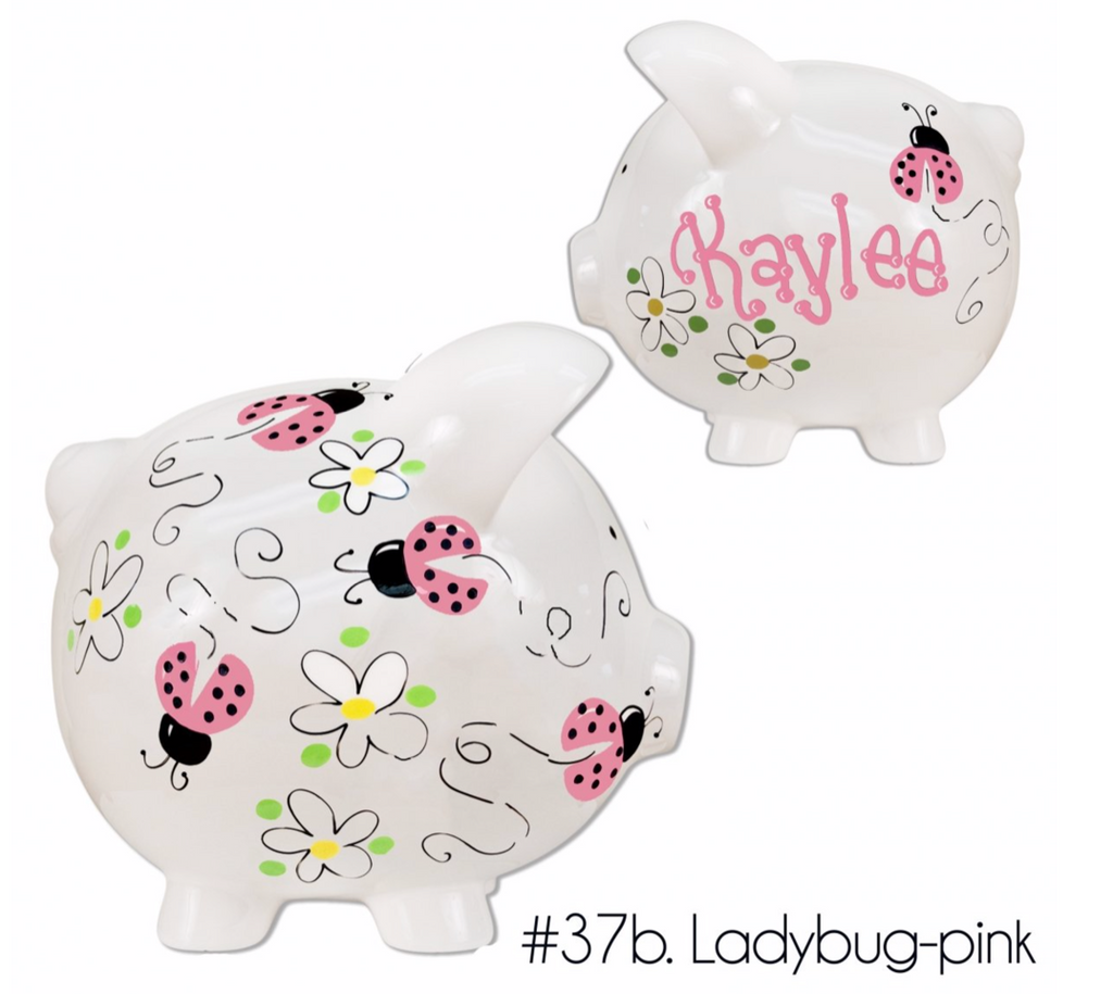 Hand Painted Piggy Bank in Boy, Girl & Neutral Designs