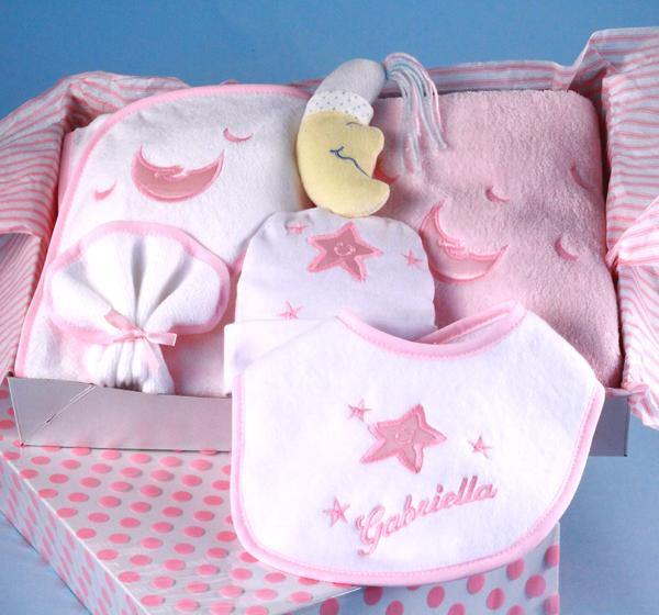 Girl's Layette Set with Personalized Bib