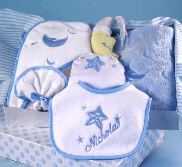 Infant Boy Layette Set with Personalized Bib