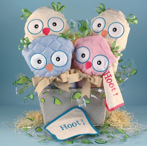 Owl Inspired Twins Basket - Simply Unique Baby Gifts