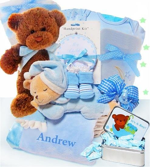 Personalized Elegant Beginnings Basket for a Boy