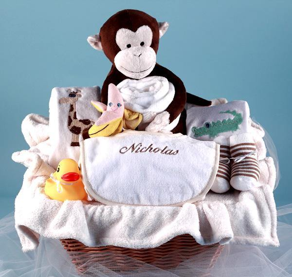 Personalized Monkey Buddies Basket - Simply Unique Baby Gifts