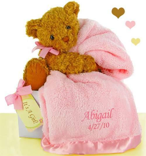 Personalized Pink Blanket And Bear