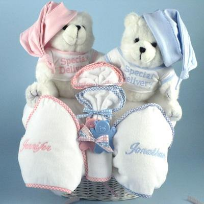 Personalized Twin Teddy Bears Ensemble - Simply Unique Baby Gifts