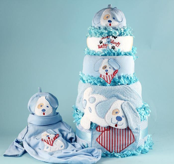 Puppy Themed Diaper Cake - Simply Unique Baby Gifts