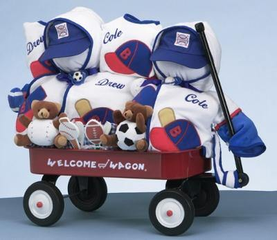 Sports Themed Wagon For Twin Boys