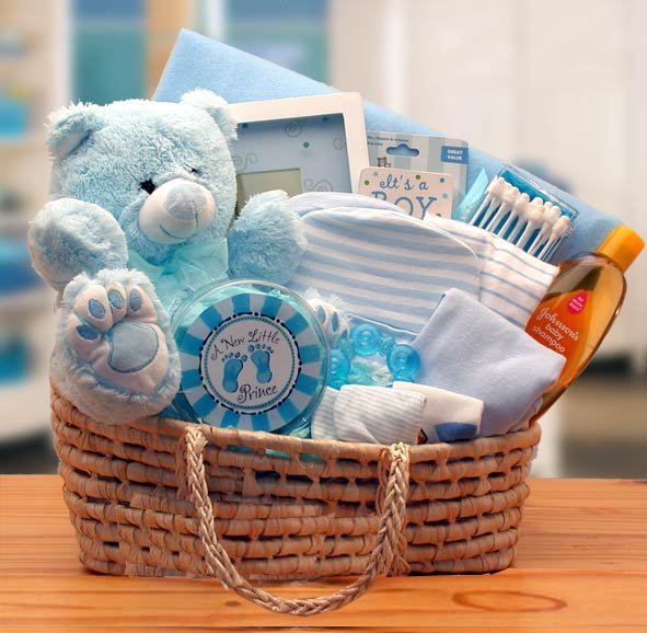 Teddy Bear Baby Boy Basket