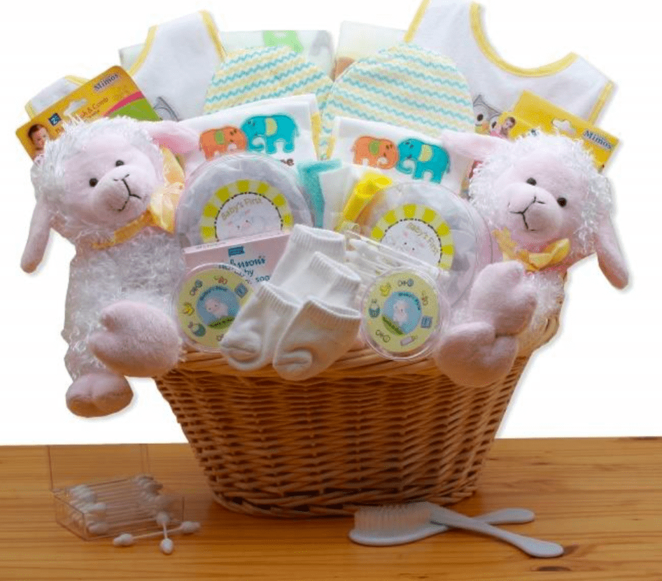 Delightful Little Lamb Twins Basket - Simply Unique Baby Gifts