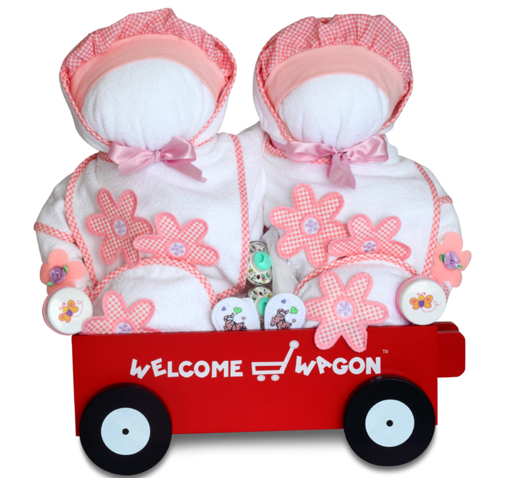 Deluxe Twins Wagon for Girls (Can be Personalized) - Simply Unique Baby Gifts
