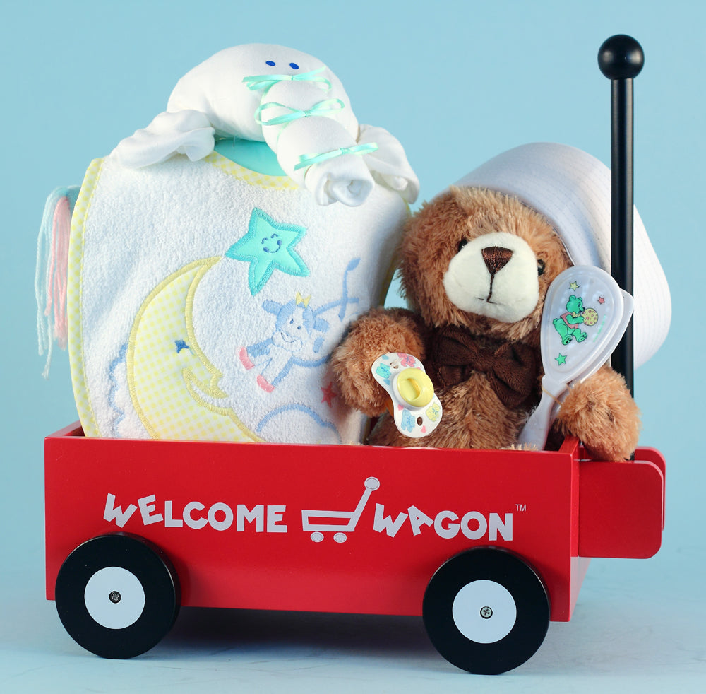 Unisex Baby Shower Presents Wagon