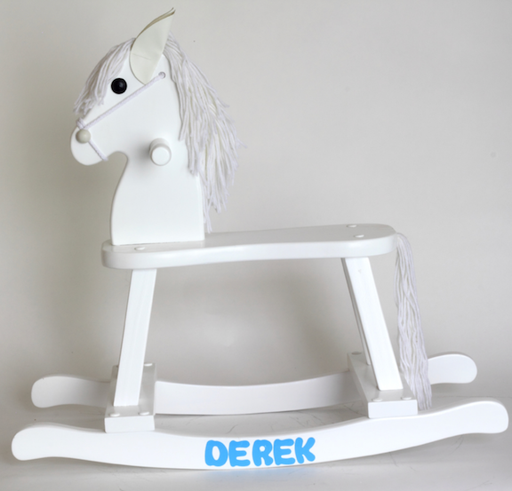Wooden Rocking Horse Set In Blue