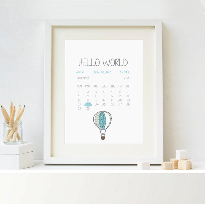 Personalised Welcome To The World Print Blue Balloon - Framed