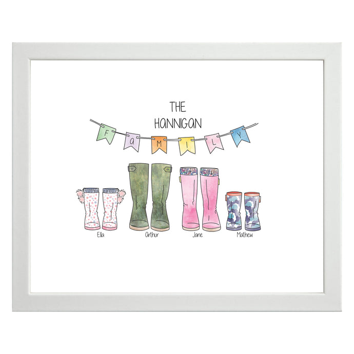Personalised Family Welly Print - Framed