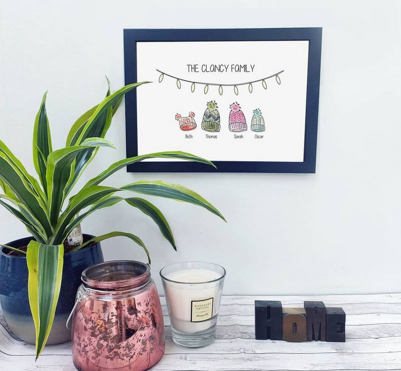 Personalised Family Beanie Print - Framed