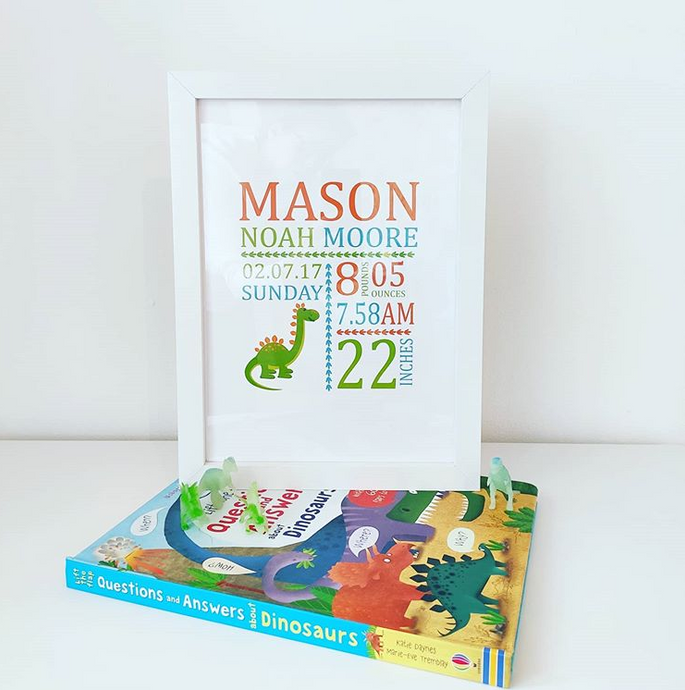 Personalised Dino Birth Print - Framed