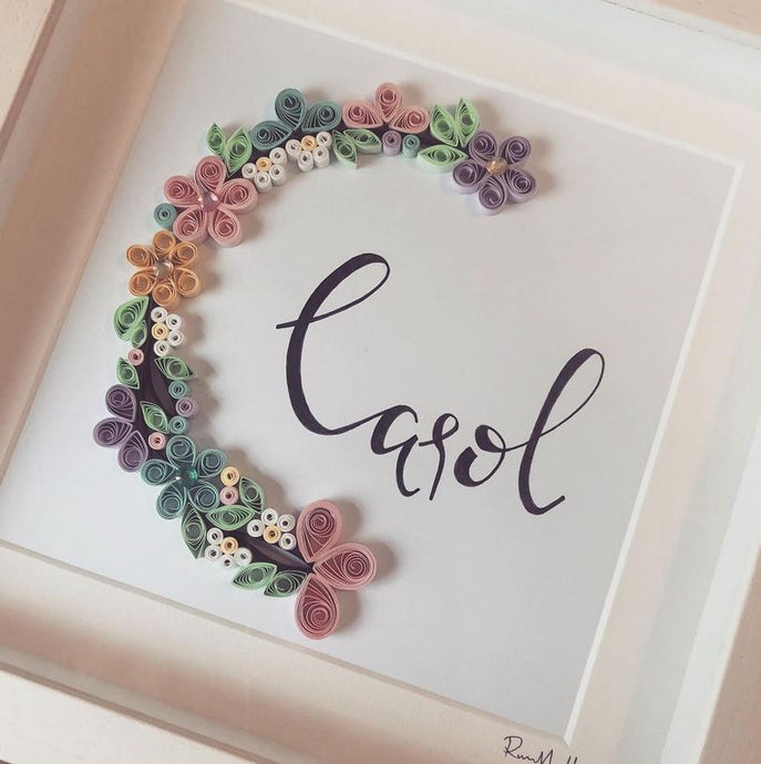 Personalised Floral Crescent - Quilling Frame