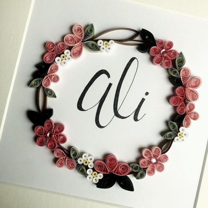 Personalised Floral Wreath - Quilling Frame
