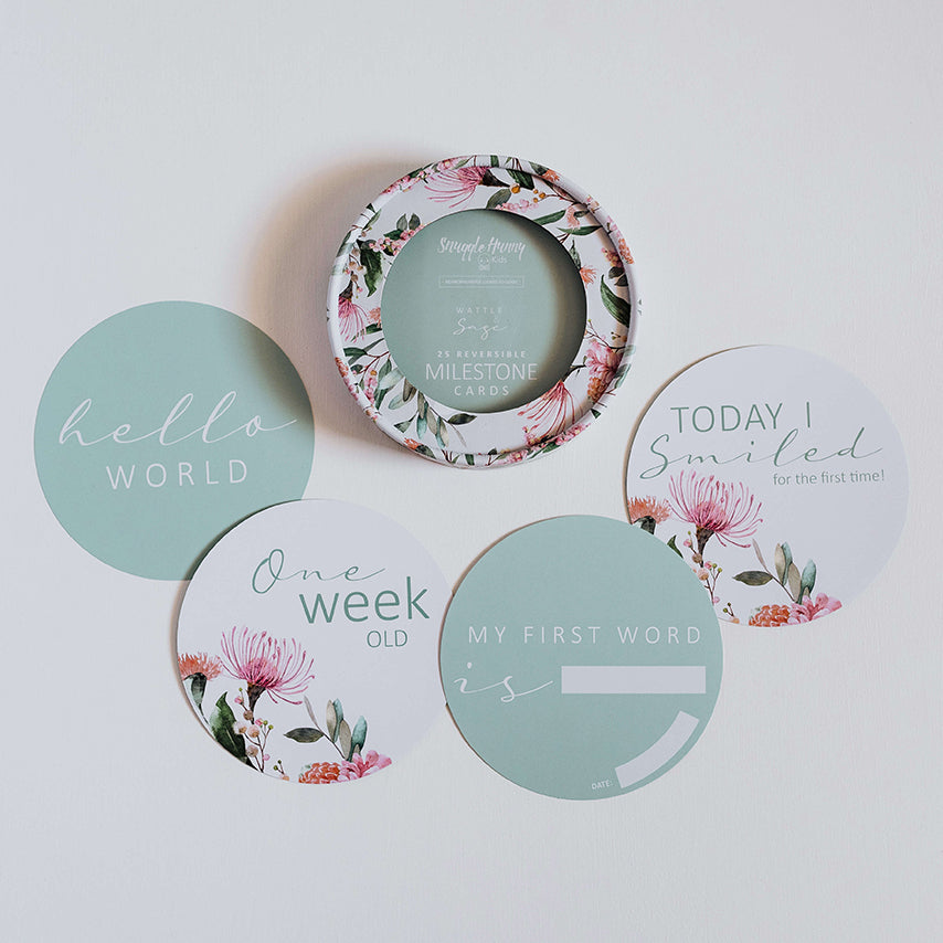 Reversible Milestone Cards (Large): Wattle & Sage