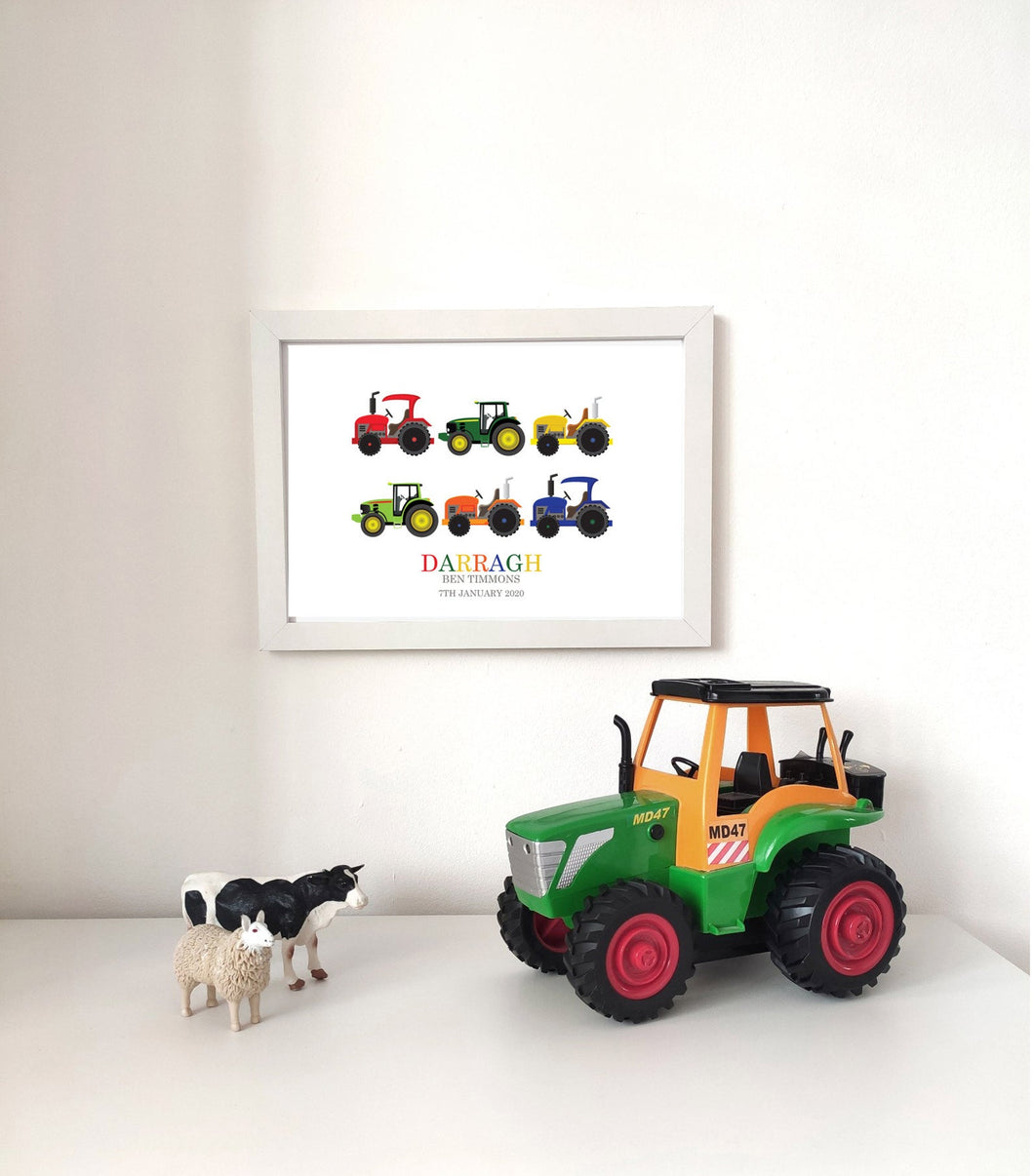 Personalised Tractor Print - Framed