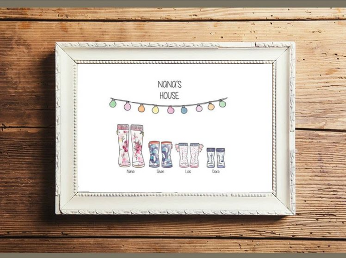 Personalised Nana Welly Print - Framed