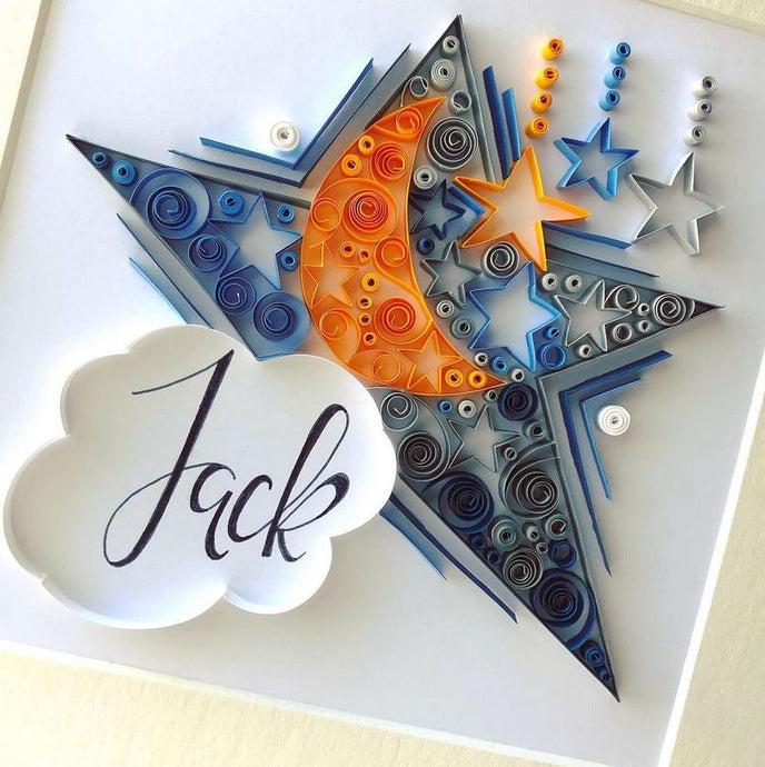 Personalised Moon & Stars- Quilling Frame