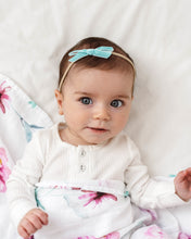 Load image into Gallery viewer, velvet bow headband aqua snuggle hunny