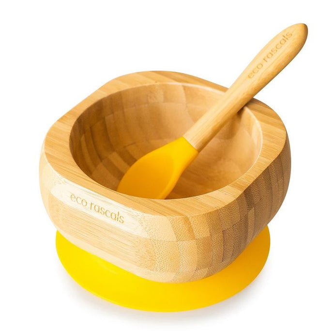 Bamboo Suction Bowl and Spoon Set: Yellow