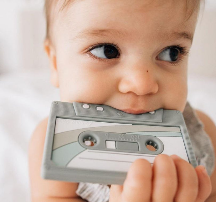 Clip & Teether: Casette Tape - Grey
