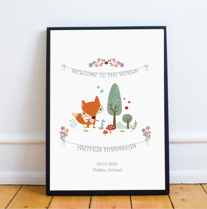 Fox Personalised Birth Print - Framed