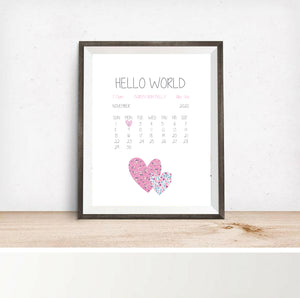 Personalised Welcome To The World Print Pink Hearts - Framed