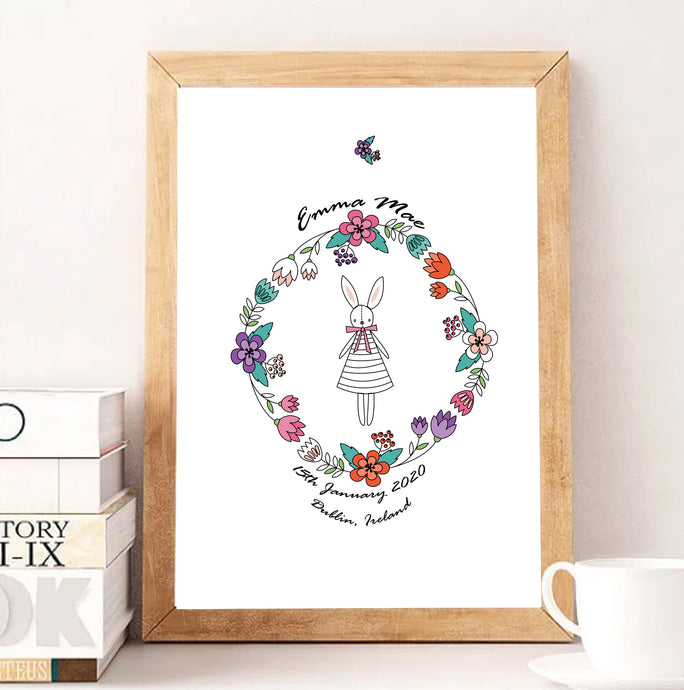 Perfectly Splendid Personalised Birth Print - Framed