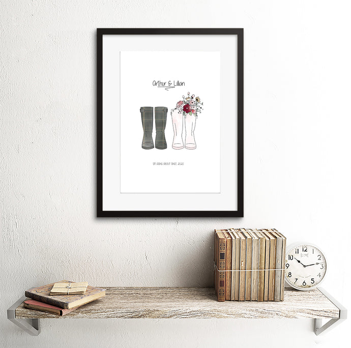 Personalised Couples Welly Print - Framed