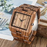 "BOBO BIRD ""Times Square"" Zebra Wooden Watch in Square Design - Handmade - Nature N Tec"